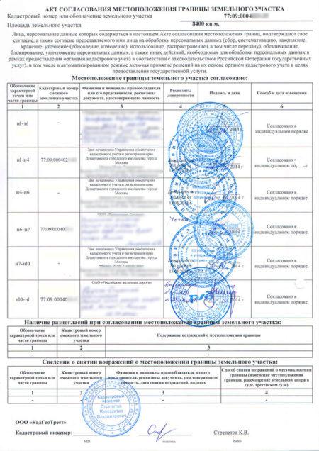 образец акта согласования границ земельного участка
